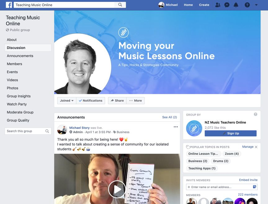 Teaching Music Online Facebook Group